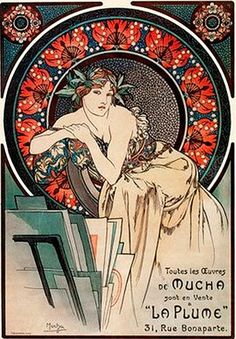 1898 Woman with Poppies. Alphonse Mucha