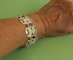 Drama Mask Bracelet - Theatrical Mask Bracelet - Wide Sterling Silver Vintage Blue Green Gem, Drama Masks, Silver Labs, Layered Bracelets, Pearl Bracelet, Sterling Silver Bracelets, Unique Jewelry, Etsy, Vintage