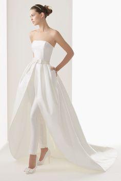 Noiva de calças: vestido de novia rosa clara com calças #casarcomgosto
