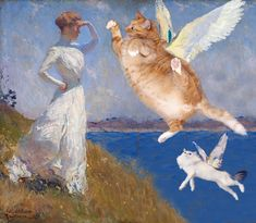 We, Zarathustra the Cat, are happy to announce that We finally found the missing part of the painting by the famous American impressionist artist Frank Weston Funny Cats, Funny Animals, Cute Animals, Fat Cats, Cats And Kittens, Crazy Cat Lady, Crazy Cats, Art Hoe, Cat People