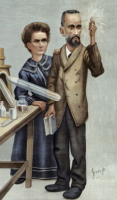 """26 December 1898 – Marie and Pierre Curie announce the isolation of radium. Radium, chromolithograph caricature of Marie and Pierre Curie by """"Imp"""" (Julius Mendes Price), published in Vanity Fair, Dec. Marie Curie, Marie And Pierre Curie, Institute Of Physics, Royal Society, History Images, Medical Art, Portrait Sketches, Great Women, Image Collection"""