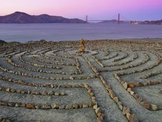 Lands End Labyrinth at Dusk with the Golden Gate Bridge, San Francisco.  diego doesnt remember passing this by on our hike last time, so we should go back. of course :)