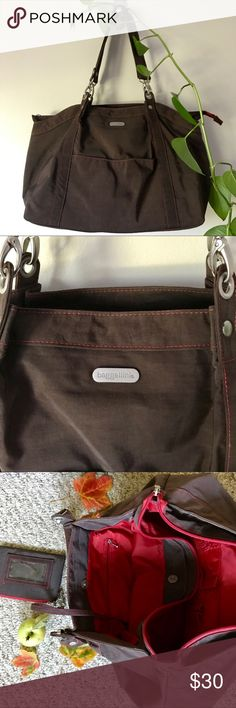 Baggallini 🍁 nylon tote Lightly used, still great condition. Many compartments for laptop and other study/work related items. Deep burgundy with red inside. Super durable. Baggallini Bags Totes