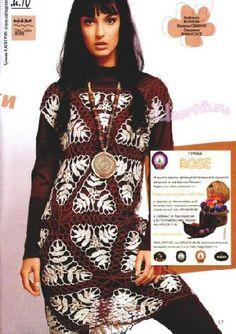 Tunic with triangular motifs Crochet Fall, Crochet Diagram, Crochet Clothes, Crochet Dresses, Diy Projects To Try, Knit Dress, Fall Winter, Barn, Album