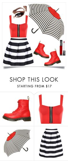 """A Dash of Red"" by j-stine17 ❤ liked on Polyvore featuring Dr. Martens, WearAll, Jean-Paul Gaultier, Urban Decay and RedWhiteAndBlack"
