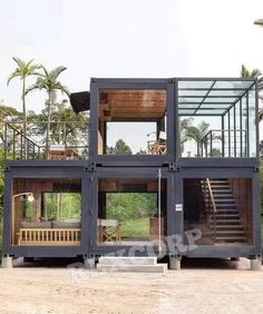 This container house with a glass design can be folded up for transport! - DECO PLANET at homes world - This container house with a glass design can be folded up for transport! – DECO PLANET at homes w - Building A Container Home, Container Buildings, Container Architecture, Container House Plans, Sustainable Architecture, Architecture Design, Cargo Container, Contemporary Architecture, Container Company