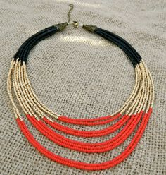 This is a striking necklace. It definitely should be worn when you want to get noticed. The colors are reminiscent of Cleopatra, and fine Egyptian