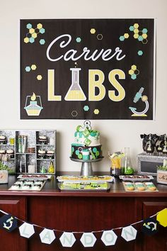 Jenifer Carver of Banner Events out of Puyallup, WA has pulled off another spectacular party with this awesome Science Lab Birthday Party! Science Lab Birthday Party Its darling printables, creative d