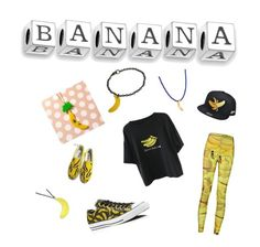 Banana Crazy by arianachristina on Polyvore featuring polyvore fashion style Converse HVBAO Bling Jewelry Lee Renee clothing yellow crazy necklace Banana