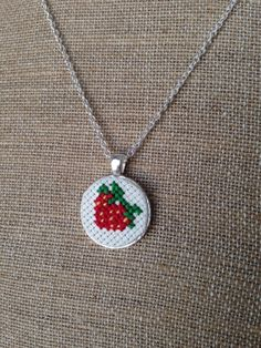 Strawberry+Embroidered+Cross+Stitch+Pendant+by+TurnerClassicCrafts,+$12.50