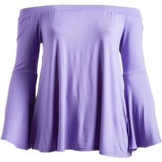 CANARI Lilac Bell-Sleeve Off-Shoulder Top ($17) ❤ liked on Polyvore featuring plus size women's fashion, plus size clothing, plus size tops, plus size, women's plus size off the shoulder tops, plus size off shoulder tops, long off the shoulder tops, off the shoulder bell sleeve top and off the shoulder tops