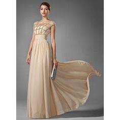 Vestidos princesa/ Formato A Decote redondo Longos De chiffon Vestido de baile com Pregueado Bordado
