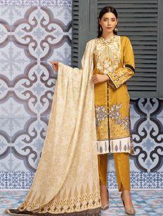 Chic Summer Stitched Ladies Lawn Shalwar Kameez KL - 4108 - L / Mustard