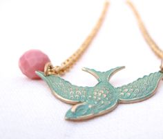 Short necklace. Vintage metal bird necklace from iomiss by DaWanda.com