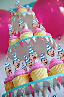 The cutest cupcake toppers in the whole wide universe! Custom photo party hat cupcake toppers.  Get yours at www.ellebellecreative.com