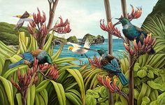 Art by the Sea art gallery specializes in fine NZ arts and crafts, with a huge range of original, fine New Zealand and Maori arts and crafts. Plant Painting, Plant Art, Mural Painting, Nature Paintings, Animal Paintings, Bird Artists, New Zealand Art, Nz Art, Art Diary