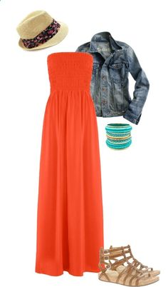 Modest Outfit 99 by christianmodesty  liked on Polyvore ~For the summer I would wear a short-sleeved tee under this, minus the bangles...I love the sandles