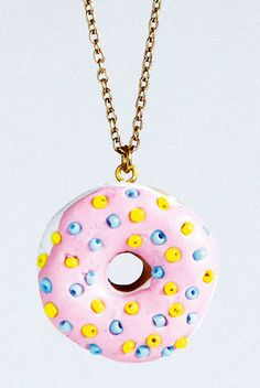 Teeny tiny donut | Polymer clay DIY necklace | Project from Mollie Makes The Big Comic Relief Crafternoon