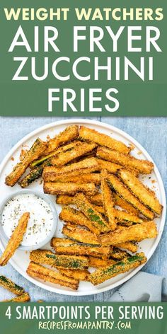 Air Fryer Zucchini Fries are the perfect starter, side dish or snack! These crave-worthy air fried parmesan zucchini fries are crisp and golden on the outside, yet moist and tender on the inside. Air Fryer zucchini chips are healthy, delicious and SO quick and easy to make! #airfryer #airfryerrecipes #airfried #airfriedzucchini #zucchinifries #zucchinichips #parmesanzucchinifries #wwrecipes #lowcarb #sidedish #wwrecipes #weightwatchers#weightwatchersrecipes