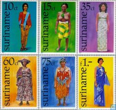 Lovely stamps of all the different ethnic groups living in Suriname