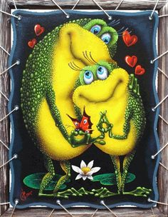 Diamond Painting By Numbers. Funny Frogs, Cute Frogs, Diy Embroidery, Cross Stitch Embroidery, Frosch Illustration, Frog Pictures, Frog Pics, Frog Tattoos, Frog Crafts