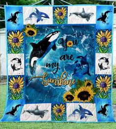 Dolphin CLM0211158 Quilt Blanket - #blanket #CLM0211158 #Dolphin #Quilt Sunflower Quilts, 3d Quilts, Custom Quilts, Blanket Sizes, You Are My Sunshine, Sport, Dolphins, Whale, Handmade Items