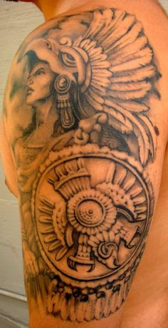 Attractive Female Aztec Warrior Tattoo With Shield On Men Arm