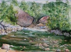 Water-colour of the river Secchiello...  just 1/2 km away....