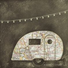 """Vintage airstream art print"" There's no limit to what you could do by cutting old maps into shapes. Airstream Vintage, Vintage Travel Trailers, Vintage Campers, Retro Campers, Happy Campers, Camping Vintage, Map Crafts, Illustration, Old Maps"