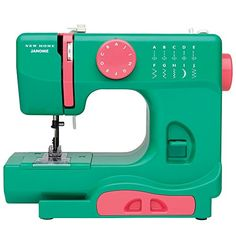 Janome Watermelon Crush Basic EasytoUse 10Stitch Portable Compact Sewing Machine with Free Arm only 5 pounds  This portable sewing machine is perfect for dorm and apartment living or travel. Offering multiple stitch options; it's ideal for experienced sewers, beginners, and young enthusiasts. Tackles household sewing tasks including hemming, Mending, crafts, scrapbooking and paper crafting, applique, zipper insertion, etc.         Janome Watermelon Crush Basic EasytoUse 10Stitch Port..