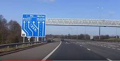 UK Motorways - north onto South Motorway Signs, Funny Signs, Roads, Signage, Safety, Stairs, Architecture, Blue, Security Guard