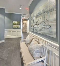 Paint Color Forecast Wall color is Sea Pines from Benjamin Moore. 2016 paint color forecasts and trends. Image via Heather Scott.Wall color is Sea Pines from Benjamin Moore. 2016 paint color forecasts and trends. Image via Heather Scott. Neutral Paint Colors, Interior Paint Colors, Interior Design, Beige Paint, Entryway Paint Colors, Office Paint Colors, Blue Wall Colors, Home Office Paint Ideas, Hallway Paint Colors