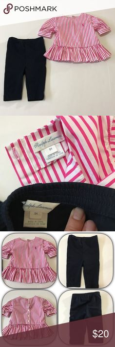 Ralph Lauren two piece set Ralph Lauren two piece set - top is white with pink stripes & horse and buttons down the back. bottoms are a dark navy pull on. Ralph Lauren Matching Sets