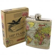 Wild and Wolf Trendy Vintage Travel Range World Map Hip Party Flask Wild and Wolf Vintage Travel, Vintage World Maps, World Map Design, Genius Ideas, Top 10 Christmas Gifts, Christmas Diy, Holiday, Map Globe, Wild Wolf