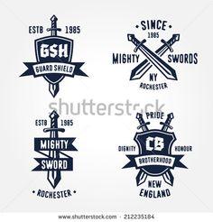 Set of retro vintage sword badges, shields, crests and heraldry logo design elements  - stock vector