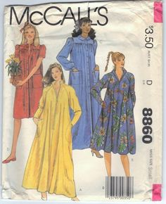 McCalls 8860 UNCUT Misses Front Closing Loose Fitting Robe or Housedress Sewing Pattern Bust 40 to 42 Side Pockets Plus Size Sewing Patterns, Mccalls Sewing Patterns, Vintage Sewing Patterns, Vintage Street Fashion, Housecoat, Dress Making Patterns, Fashion Illustration Sketches, Vintage Outfits, Vintage Dress