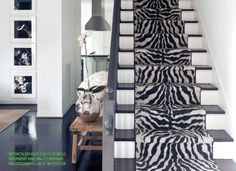 If I ever build a house, I must have this zebra print stairway! Stairs Home Depot, Zebra Decor, Carpet Stairs, Fashion Room, Modern Interior Design, Zebra Print, My Dream Home, House Colors, Modern Furniture