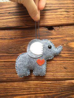 wool felt elephant christmas ornament keychain mobile by feltloved design wool felt elephant christmas ornament, keychain, mobile attachment, car mirror ornament, plush toy / stuffie - cloudy day Felt Diy, Felt Crafts, Fabric Crafts, Sewing Crafts, Sewing Projects, Craft Projects, Felt Projects, Sewing Toys, Felt Christmas Ornaments
