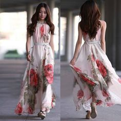 8d40797137 Women Summer Elegant Boho Lotus Leaf Big Hem Chiffon Maxi Flowers Long Dress