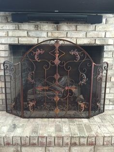 24 best wrought iron fireplace screen images wrought iron rh pinterest com