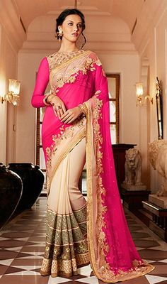 Spread your grace and stylishness wearing this pink and beige color georgette net half n half sari. The lovely lace, resham and sequins work throughout attire is awe-inspiring. #pinkhalfnhalfsarees #georgettesaris #cutworksareedesigns