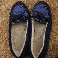 Blue sequin slip ons Barely worn! Shoes Flats & Loafers