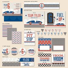 CUSTOM Vintage Racecar Boys Birthday  Mostess PRINTABLE by HWTM, $42.00