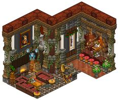 Mansion - Bar by Cutiezor Habbo Hotel, Mansion Bathrooms, Isometric Drawing, Pixel Animation, Pixel Art Games, Pixel Design, House Drawing, Environment Concept Art, Retro Art
