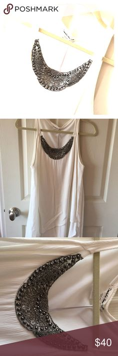 Midi flow dress Never been worn  New with tags  White summer flow dress  Dress has layers  A loose fit for those summer days  Size small  Beautiful beaded attached necklace Double Zero Dresses Mini