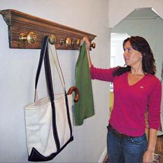 Make a Doorknob Coatrack - for a salvage project using vintage metal doorknobs, a toss-and-go coatrack seemed just the antidote. Amy had six knobs and their matching rosette backplates; all she needed was a nice old board, like the salvaged chestnut trim shown here, to mount them on. For full step-by-step instructions, shopping list, and tools list, see How to Make a Doorknob Coatrack.