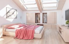 Large spacious loft conversion creating a relaxing double bedroom with lots of light from skylight windows.