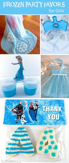 Frozen Party Favors for Girls - Here is our collection of adorable DIY Frozen Party Favors for Girls including Elsa Capes, Elsa Party Favor Bags, Elsa Crown and Thank You Cookies. And for more great Frozen Party Ideas follow us at http://www.pinterest.com/2SistersCraft/