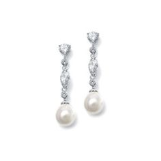 Linear CZ and Pearl Wedding Earrings. These unique wedding earrings have a unique soft ivory teardrop shaped pearl drop for special occasion. Pearl Earrings Wedding, Pearl Drop Earrings, Bridesmaid Earrings, Bridal Earrings, Dangle Earrings, Pearl Bridal, Pierced Earrings, Bridesmaid Bouquets, Bridesmaid Gifts