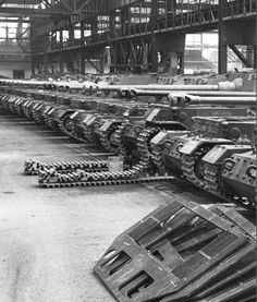 """ Ferdinand/Elefant Tank Destroyers at the assembly line. """